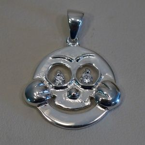 Sterling Silver .925 Smiling Kid W/CZ Eyes Pendant